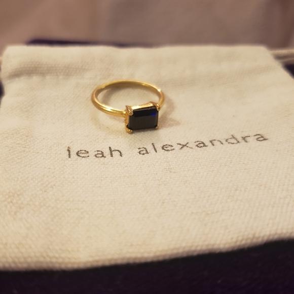 Leah Alexandra 14k gold plated black Onyx ring